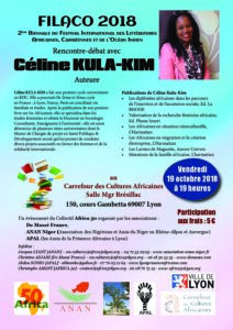 [LITTERATURE] Céline Kula Kim au FIALCO  au Carrefour des Cultures Africaines @ Carrefour des Cultures Africaines | Lyon | Auvergne-Rhône-Alpes | France