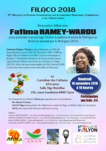 [ONLYAFRICA] FILACO : Rencontre avec Fatima Hamey Warou @ Carrefour des cultures africaines | Lyon | Auvergne-Rhône-Alpes | France