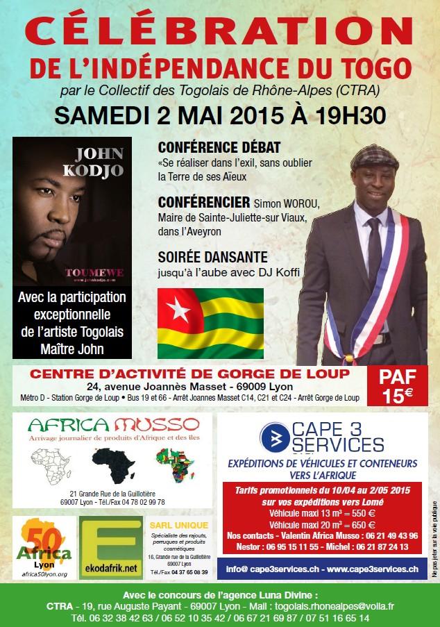 [TOGO LYON] Célébration des 55 ans samedi 2 mai 2015 conférence et soirée dansante au programme