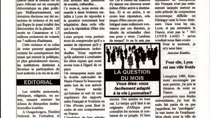 """[ARCHIVES] """"Vous êtes-vous facilement adapté à la vie lyonnaise ?"""" Kpakpato n°5 du 10 avril 1993"""