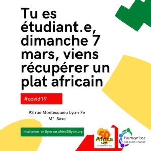 [SOLIDARITE] Tu es étudiant.e, tous les dimanches viens récupérer un plat africain offert par Humanitas Seconde Chance et Africa 50 @ Espace Culturel Africain
