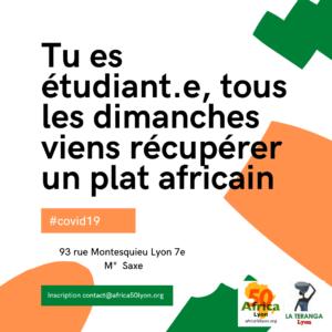 [SOLIDARITE] Tu es étudiant.e, tous les dimanches viens récupérer un plat africain offert par La Teranga Lyon et Africa 50 @ Espace Culturel Africain