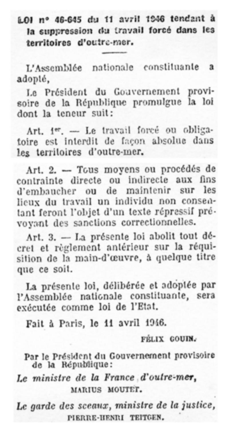 [MEMOIRE] 11 avril 1946 La loi Houphouët-Boigny supprime le travail forcé dans les colonies
