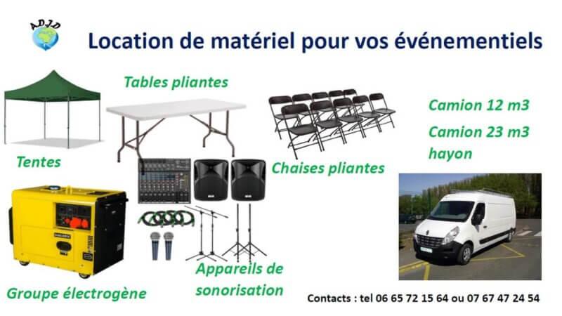 [LOCATION] L'AJDD (Rillieux-69) vous propose du matériel à louer pour vos événements à des prix accessibles